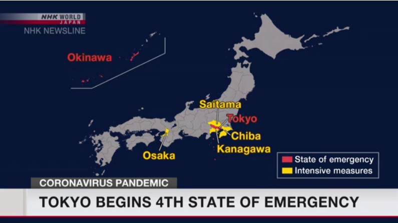 Tokyo enters 4th COVID-19 emergency, covering Olympics period